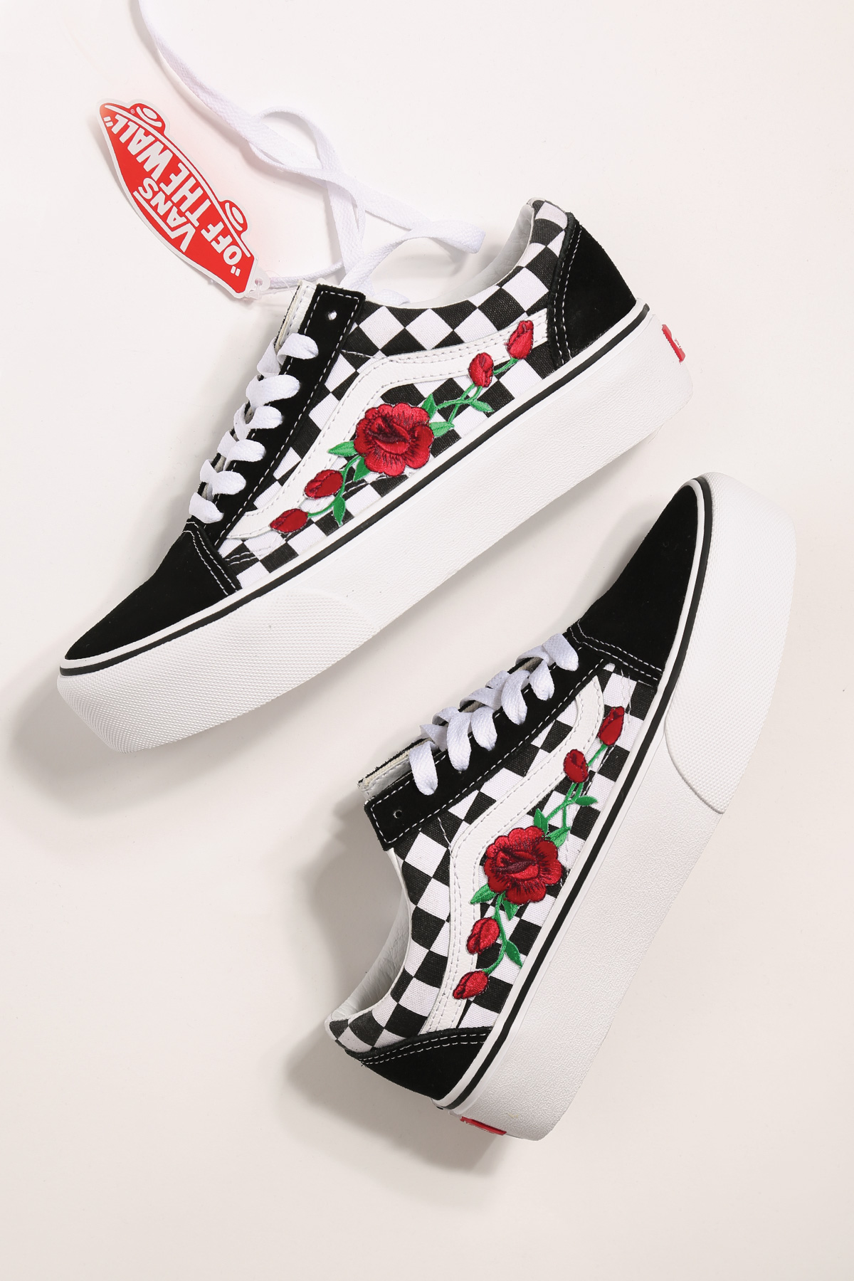 47a7846babf7 custom rose vans platform checkered old skool — iamkoko.la