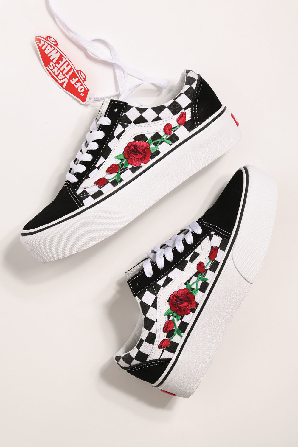 custom rose vans platform checkered old skool — iamkoko.la