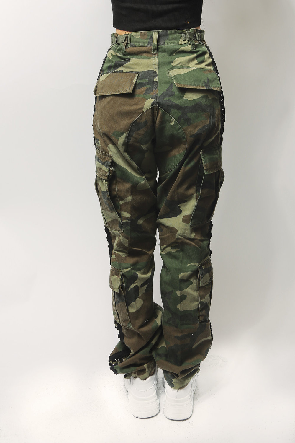 authentic vintage camo army pants with cut out ring sides — iamkoko.la cf307fbd170