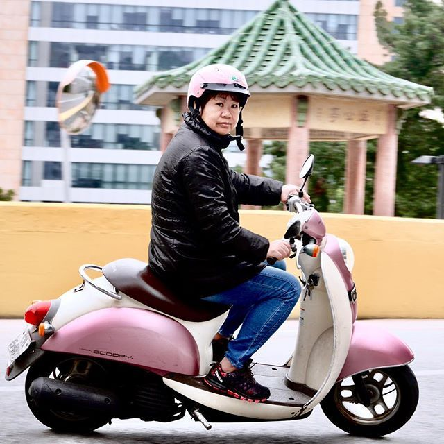 Motoqueira. Biker. #snapshot #macao #macau #china #bike #motorcycle #scooter #pink #pagoda #asia #chinese #panasonic #lumix #gm5 #panasonic35100mm #lumixlens  #microfourthirds #micro43rds #m43rds — view on Instagram  http://bit.ly/2RQ3Pe4