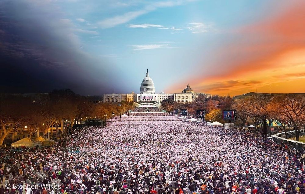 stephenwilkes :     In 2012, I had the incredible opportunity to capture President Obama's second inauguration. It was an overwhelming day, with estimates of 1 million people in attendance.   I spent 20+ hours–from setup to breakdown–above the sea of waving flags in a scissor lift. As planes landed at Ronald Reagan Airport gusts of wind shook the lift, threatening to blur my exposures.   The final image was worth the stress and more as I was able to create an image that captures the sentiments of the day, and years, of Obama's continued presidency.   For further details on this print, including how to obtain a copy, contact info@stephenwilkes.com.   #DayToNight #StephenWilkes #inauguration #Obama #TASCHEN #BryceWolkowitzGallery #Artitled #PeterFettermanGallery #MonroeGallery via Instagram  http://ift.tt/2judxzl