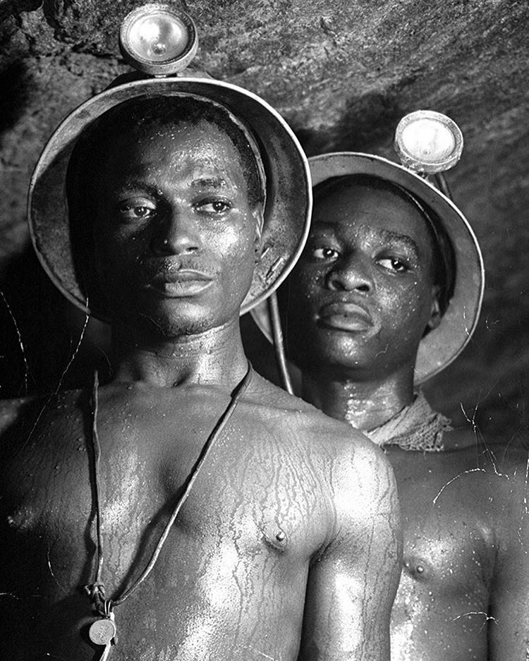 "life :     From the September 18, 1950 feature story (66 years ago this week): SOUTH AFRICA and its PROBLEM: In a black land white rule and human liberty are clashing. This image opened the story with the following caption: ""Gold miners Nos 1139 and 5122, both Mndaus, stand sweating in 95 degree heat of a tunnel in Johannesburg's Robinson Deep Mine, more than a mile underground."" (Margaret Bourke-White—The LIFE Picture Collection/Getty Images) #thisweekinLIFE #LIFEmagazine #1950s"