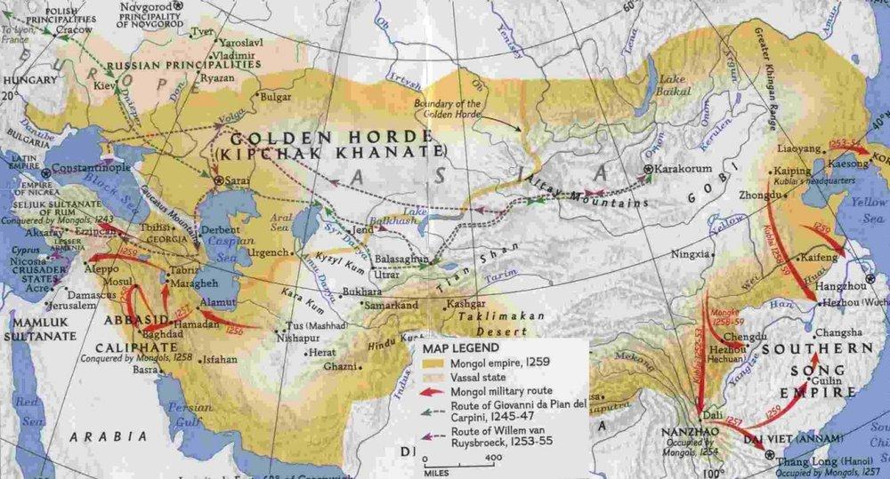 mapsontheweb :     Map of the Mongol Empire under Kublai Khan, 1259 AD