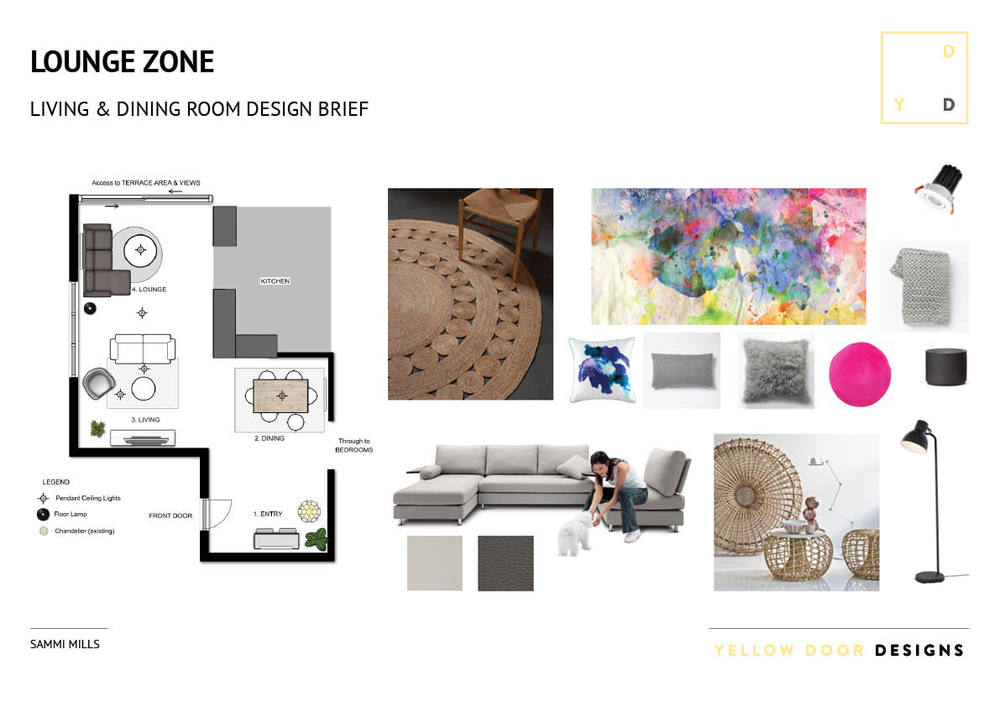 Lounge design moodboard photo