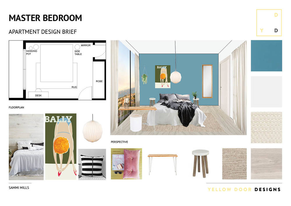 Bedroom design and moodboard photo