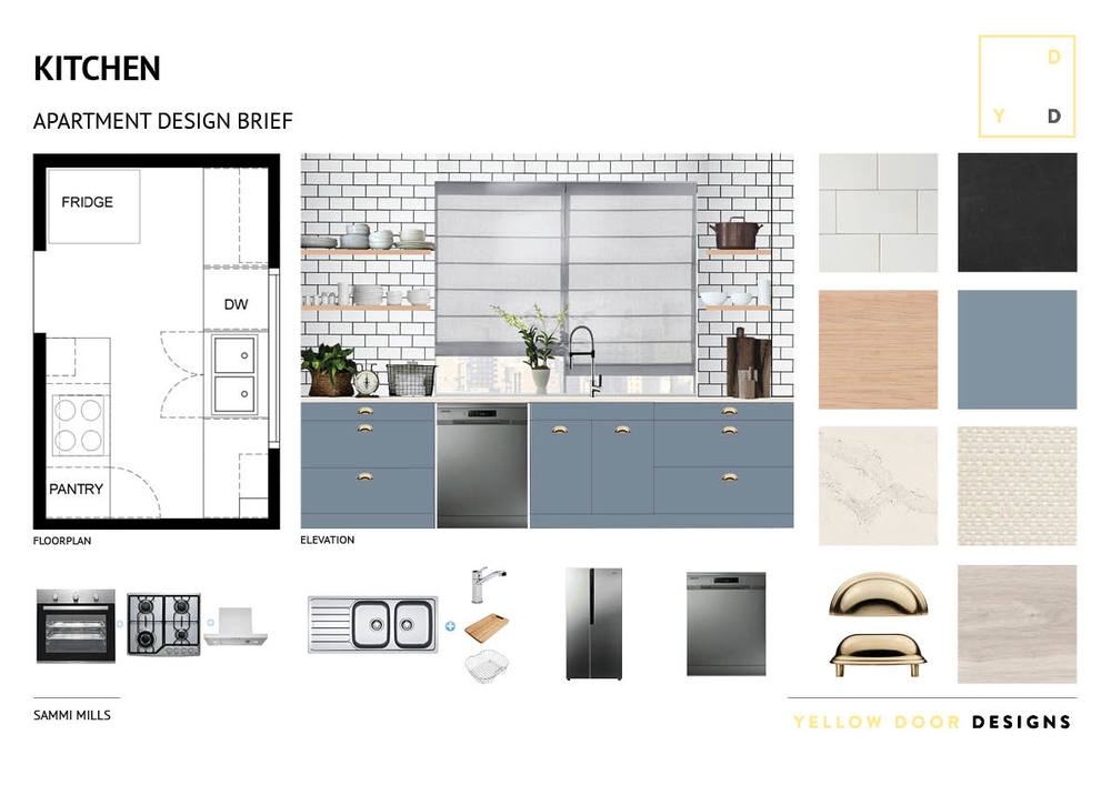 Kitchen design and moodboard photo