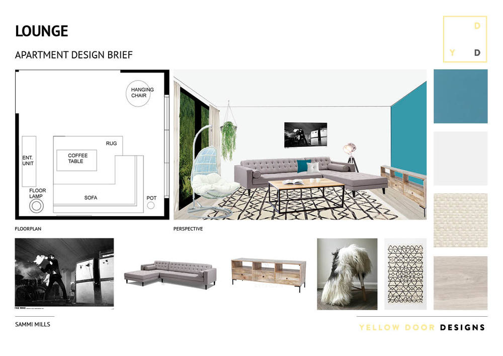 Lounge design and moodboard photo