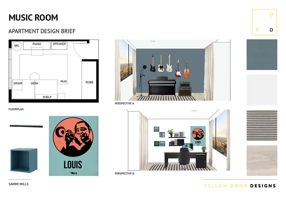 Music room design and moodboard photo