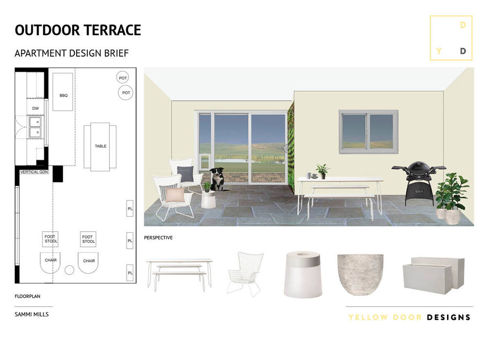 Outdoor terrace design and moodboard photo
