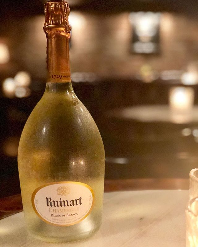It's world champagne day today!!! We are celebrating by ripping the top off some @ruinart!! We're pouring the BdB for $30 and the rose for $40 @moethennessy  #invictoryyoudeservechampagneindefeatyouneedit #fuckthatsdelicious #alittlebitfancy
