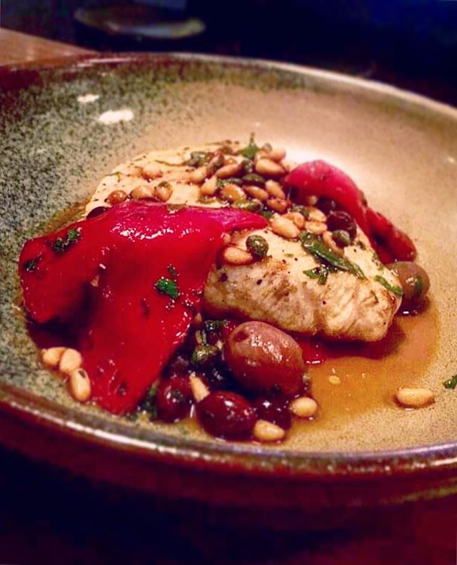 Our special for the week. Pan fried sword fish. A one pan wonder, we take a white wine sauce with capers, pine nuts and peppers. Add some olives and marjoram and let the 🔥 do its thing. Straight from the pan to your plate. Damned delish #summerseafood #onepanwonder
