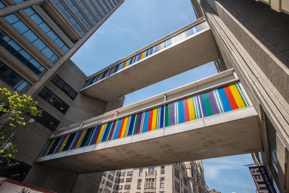 Photo-souvenir: Bayadères for Two Skywalks, March 2016, work in situ, Hunter College, New York, NY, United States, March–December 2016. © Daniel Buren/ADAGP, Paris. Photo by Bill Orcutt.