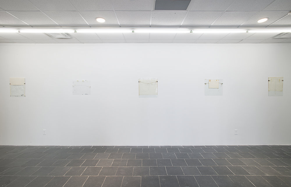 Installation view:  Nahum Tevet: Works on Glass, 1972–1975 , Hunter College Art Galleries, 2016. Photo by Bill Orcutt. Left to right: Untitled #9, 1974; Untitled #13, 1974/2016; Untitled #7, 1972; Untitled #5, 1972; Untitled #6, 1972.