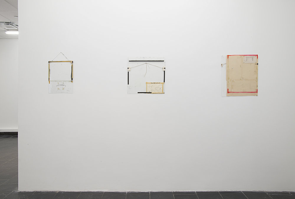 Installation view:  Nahum Tevet: Works on Glass, 1972–1975 , Hunter College Art Galleries, 2016. Photo by Bill Orcutt. Left to right: Untitled #14, 1974; Untitled #29, 1975; Untitled #33, 1975.