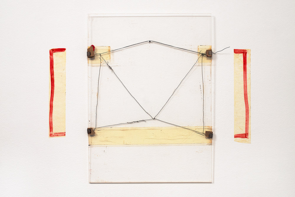 Nahum Tevet, Untitled #15, 1974. Cardboard, metal clips, wire, and transparent tape on Plexiglas, marker on transparent tape, Plexiglas: 19 3/4 x 14 3/4 x 7/16 in. (50.2 x 37.5 x 1.1 cm), Installed: 19 3/4 x 23 5/8 x 7/16 in (50.2 x 60 x 1.1 cm). Collection of the artist. Photo by Polite Photographic, courtesy of the Hunter College Art Galleries.