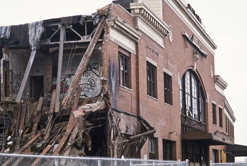 Andreas Sterzing,  Pier 34 Demolition (Wojnarowicz's  Gagging Cow  and Richard Hambleton shadow painting are visible) , 1984. Courtesy of the artist and Hunter College Art Galleries, New York.
