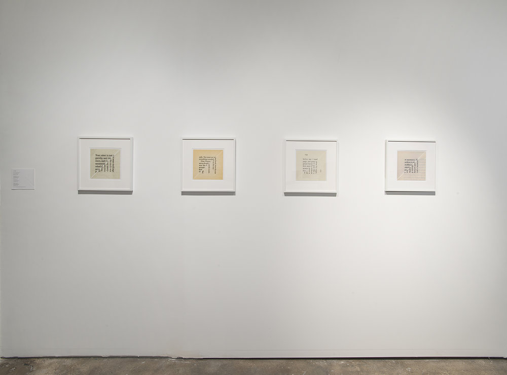 Installation view:  Elective Affinities: A Library , Hunter College Art Galleries, 2017. Erica Baum  Page Pencil , 2013;  Venice , 2014;  Not to Wear Stockings , 2010;  Spectators , 2009. Courtesy the artist and Bureau, New York. Photo by Bill Orcutt.
