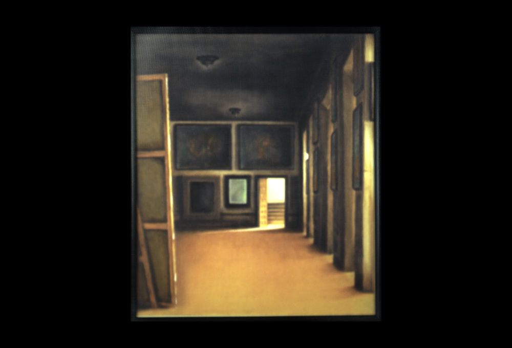 Waltercio Caldas,    Los Velázquez,  1994.   Oil stick on printed paper with translucent glass and wood frame, 51 x 34 ¾ inches.   Fundación Museo Reina Sofía. Promised gift of Patricia Phelps de Cisneros in honor of Luis Enrique Pérez-Oramas.
