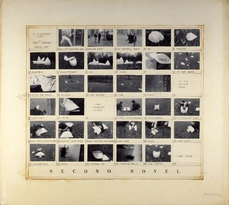 Juan Downey,  Second Novel: A sculpture class , 1970. Pencil, ink, and collage on paper, 37 x 41 inches. The Ella Fontanals-Cisneros Collection, Miami. Image courtesy of the Estate of Juan Downey.