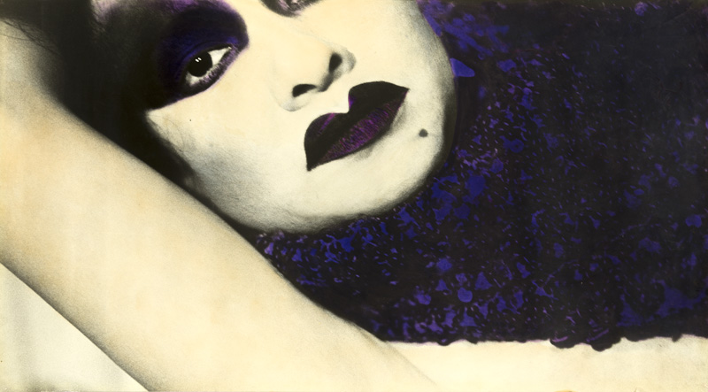 Patssi Valdez,  Portrait of Sylvia Delgado , c. early 1980s. Hand-painted photograph with ink and pastel, 20 x 36 in. (50.8 x 91.4 cm). Courtesy of Patssi Valdez. Photo by Ian Byers-Gamber