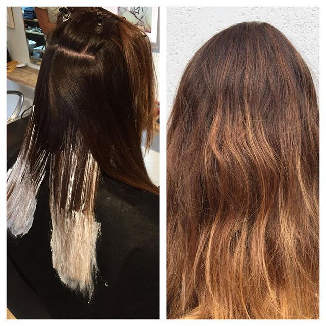 During and after on Kayleigh balayage and babylights #thecenturyoflight #choosethelight