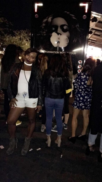 Concert chic: Bay Belle Choke Me Bodysuit  , shorts from Target, leather jacket from Topshop and Steve Madden boots.