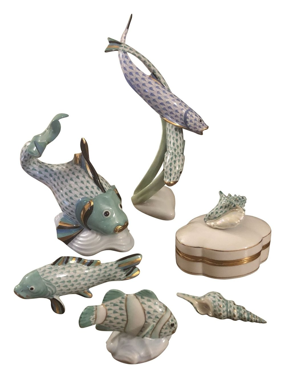 From under the sea to under the tree! These elegant hand painted figurines from Herend will be a gift that is cherished for years to come. Don't wait on these gorgeous hand painted beauties, the price is right and the timing could not be better. $1,770.