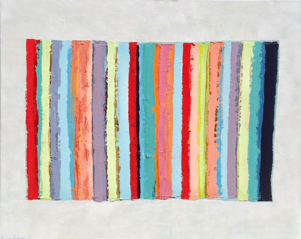 Sophisticated Beach Towel by Kim Romero is a sterling example of her Beach Towel Series. It is fun, vibrant and loose but, of course, sophisticated too - like a Missoni towel on the sand in the South of France. It measures 40 x 50 inches. $3,500.