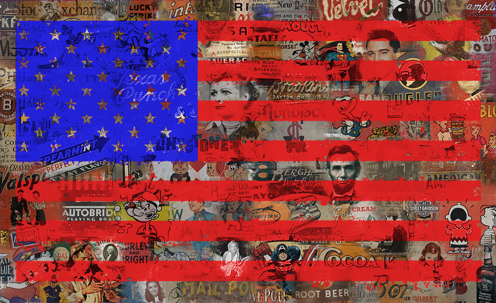 "Sabeena Jindal ,  Old Glory , mixed chromogenic print behind acrylic  44"" x 72""    Edition of 25    Price: $5,500 30"" x 49""    Edition of 40   Price: $3,500"