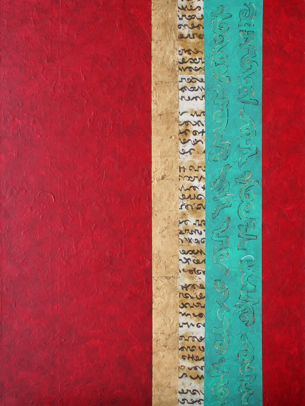 "Heidi Lewis Coleman ,  REVERIE,  Acrylic & Cut Paper with Gold Leaf on Canvas, 48"" x 36""  Price: $2,000"