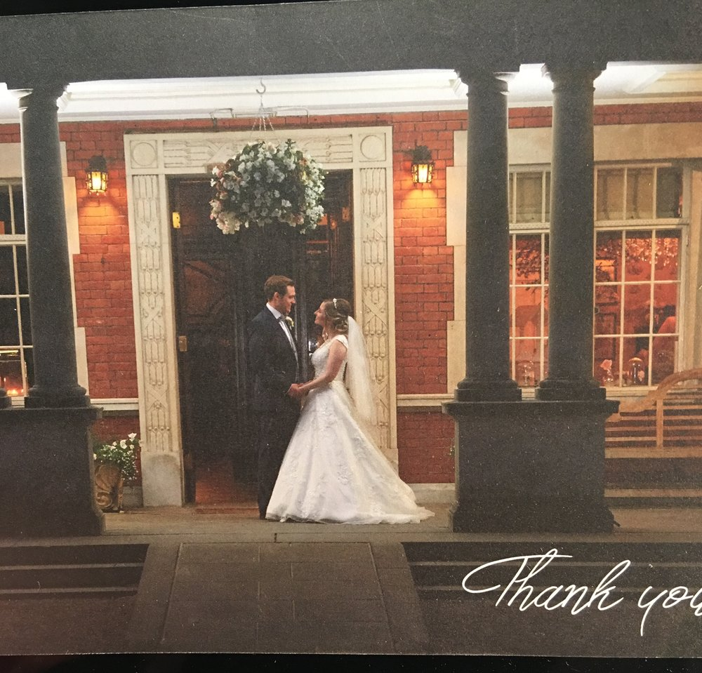 The lovely thank you card I received from the happy couple.