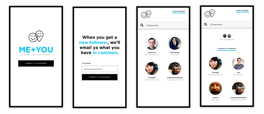 UI/UX - A fun experiment to see how your life intersects with the people you follow on Instagram. Discover if you have any mutual friends or shared photos from similar places.