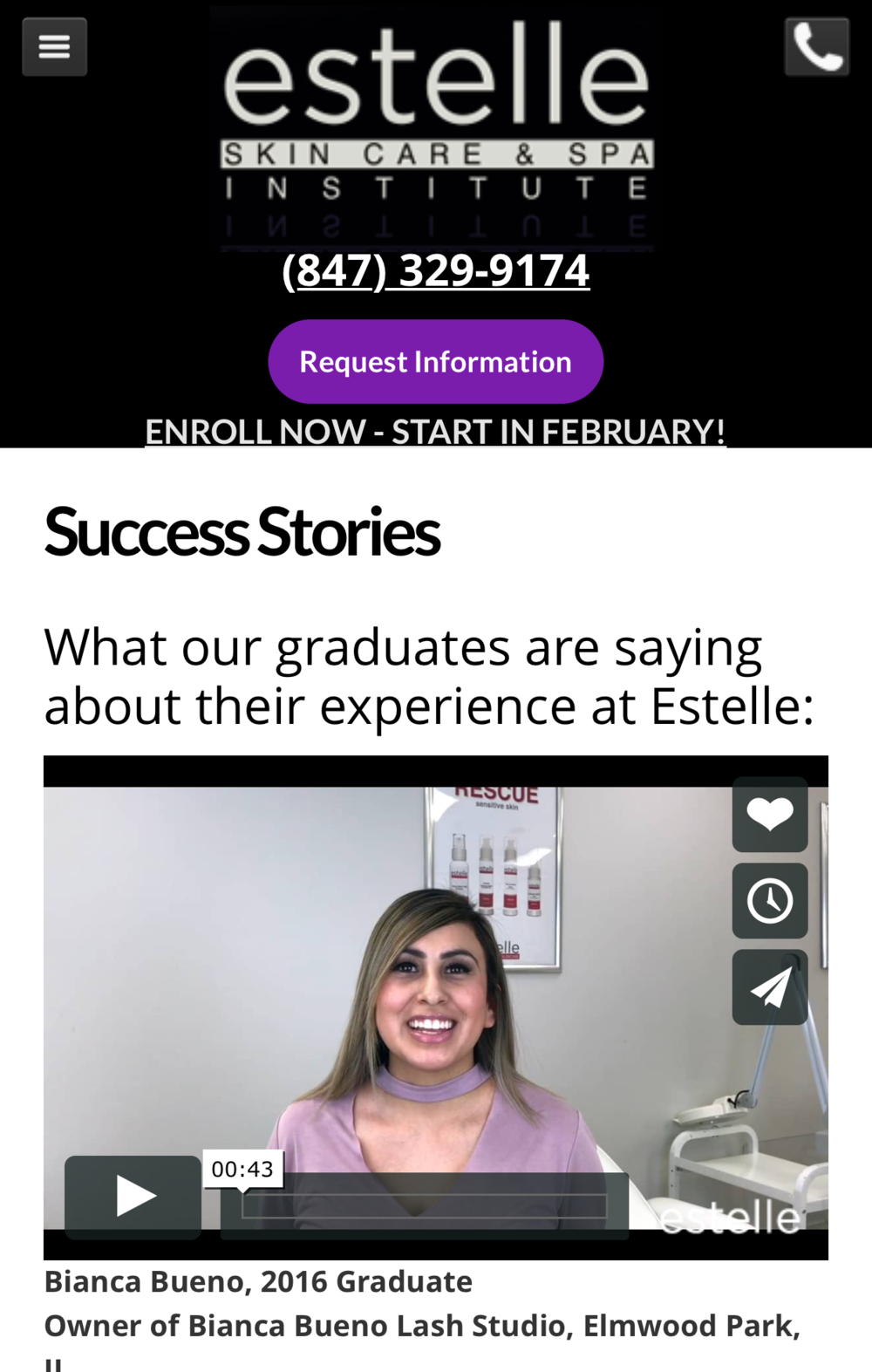 featured on Estelle Skin Care & Spa Institute success stories!