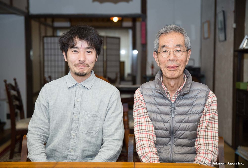 With the owner Fujio Takasaki, in the café