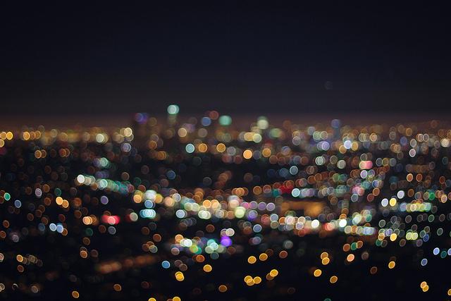 LA Skyline bokeh  on Flickr.