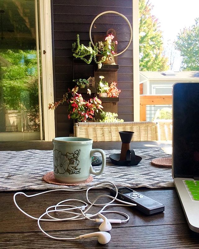 Happy Monday!! Feeling  pretty darn lucky to be transcribing a recent interview outside on this beautiful morning.  _____ One of the first steps in writing the #narrativesfromthecommunity begins with listening to and typing out the conversations we've had getting to know you and your passion & drive for what you do.  _____ So, today over coffee and in an inspiring space, we are ever so grateful to listen and humbly tell your story. What are you up to on this lovely day?  #september #transcribing #warmfallday #narrativesfromthecomminity #foxboxcollaborative #coffeetime #creatives #makersmovement #writersofinstagram