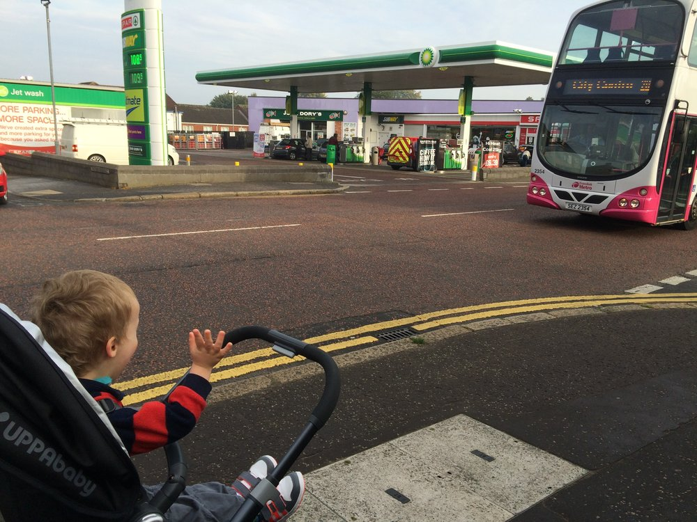 out for a walk and Daddy's bus was about to go past. At this point I think Daniel still thought Colin actually WORKED on the bus!