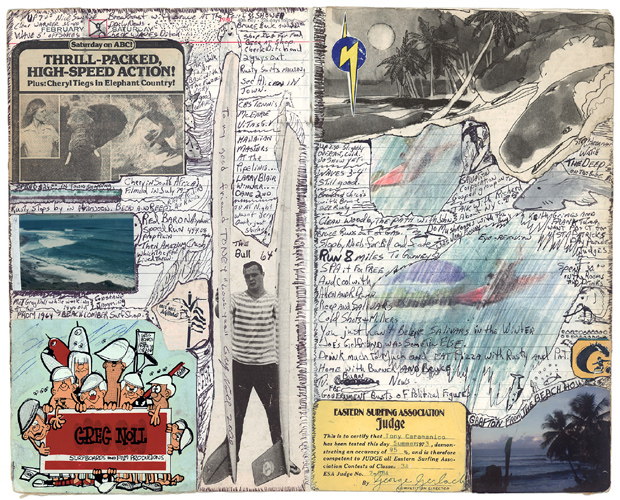 Tony Caramanico  The Surf Journals, Series 1: February 9, 1980,  2001 available as: 16 1/4 x 18 3/4 in. print (edition of 12) 27 x 33 in print (edition of 12) 34 x 43 in. stretched canvas print (edition of 7) 4 x 55 1/4 in. stretched canvas print (edition of 3)
