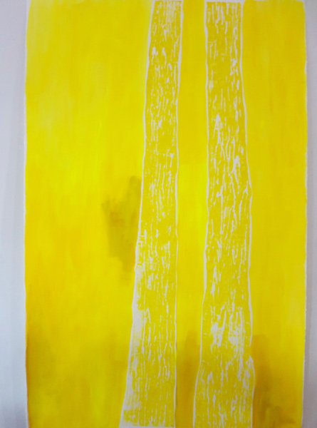 Meghan Gerety  Yellow Trees,  2014 blockprint ink on paper 68 x 42 in. framed