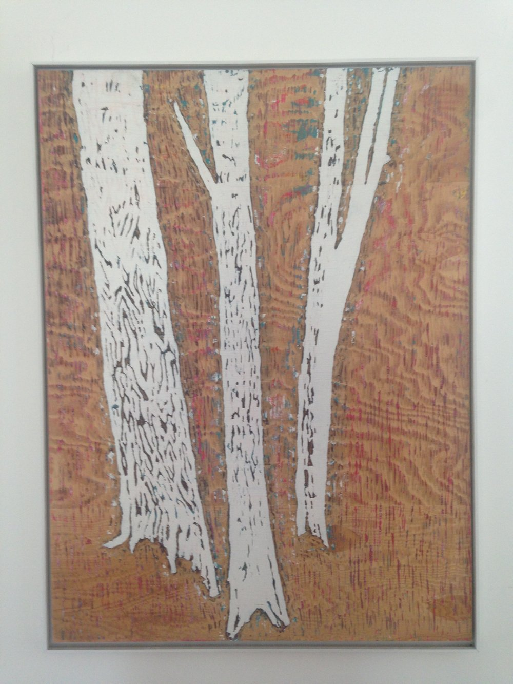 Meghan Gerety  White Trees , 2012 blockprint ink on plywood 42 x 32 in. framed