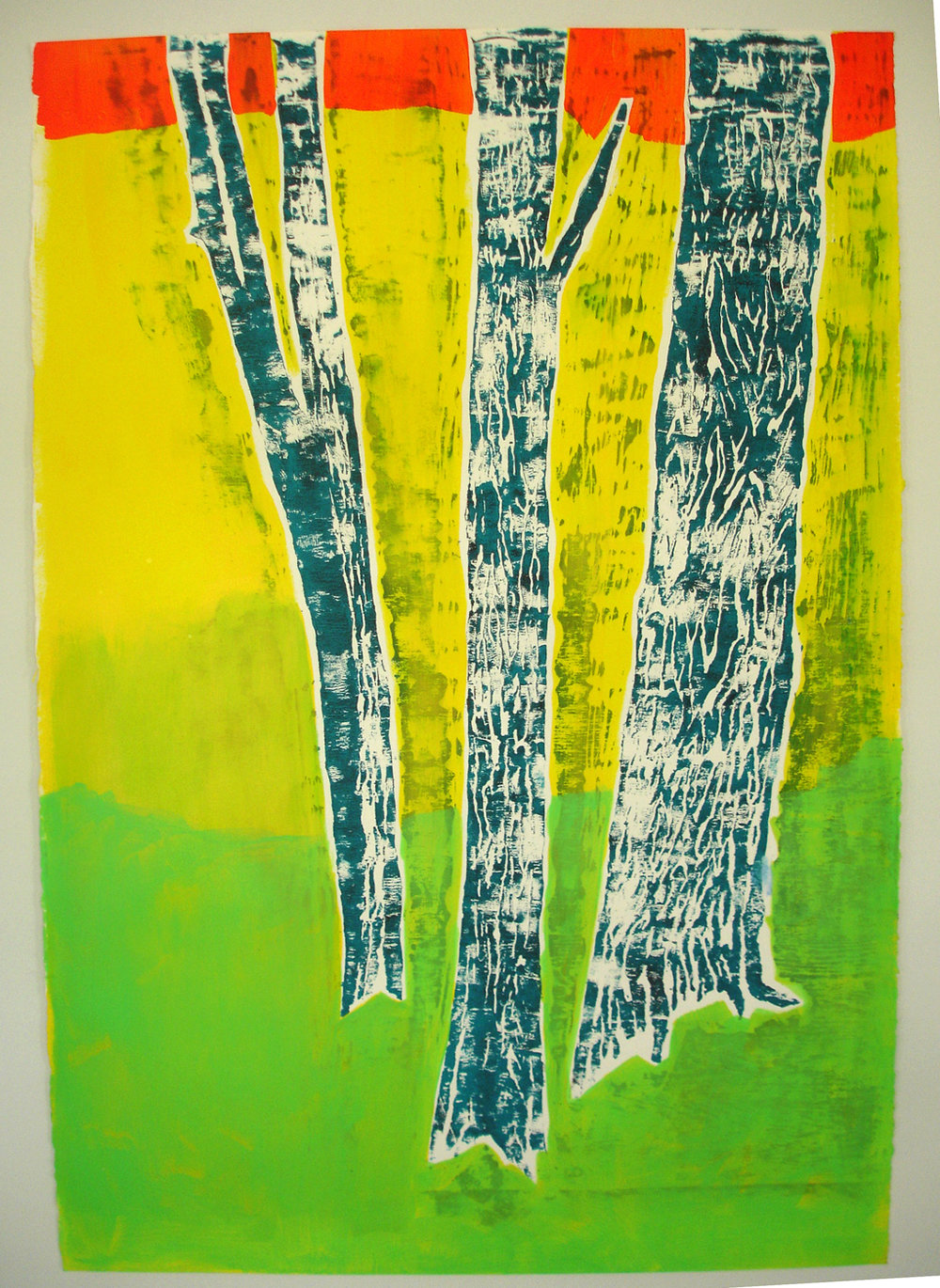 Meghan Gerety  Orange, Yellow, Green Trees , 2012 blockprint ink on paper 32 x 22 in. framed