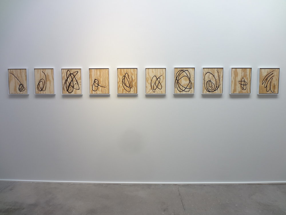 Meghan Gerety Installation View  Untitled , 2015 blockprint ink on plywood  15 x 12 in. each framed in aluminum