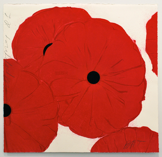 Donald Sultan  Red Poppies , 2012 color silkscreen and flocking 19 x 20 in. edition of 80