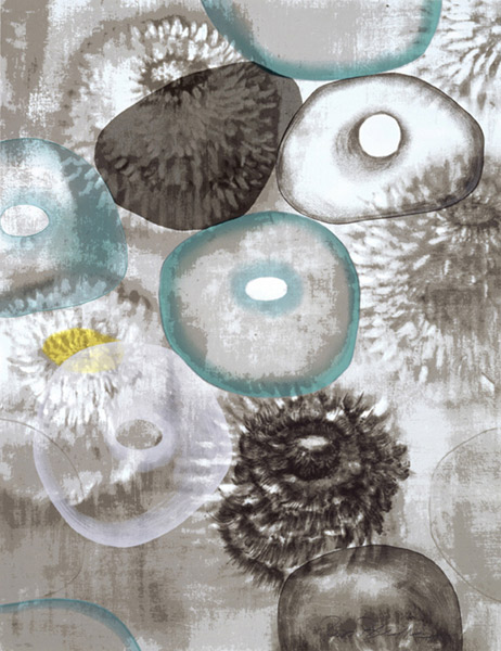 Ross Bleckner  Happiness for Instance II , 1997 17-color silkscreen 42 x 32 in. edition of 75