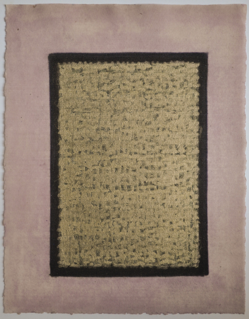 Olivia Munroe  Histories , 2012 beeswax, ink, metallic powder on vintage hand made paper 9 3/4 × 7 31/50 in. (24.8 × 19.4 cm.)