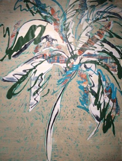 Catharine Warren  Scott's Palm  mixed media on paper 62 × 38 in.