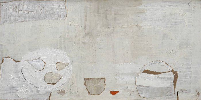 Charlotte Culot  White Daily 1 , 2012 oil and mixed media on canvas 19 3/4 x 39 1/2 in. (21 1/2 x 41 in. framed)