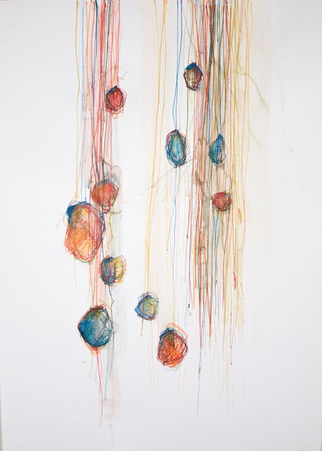 Michael Rich  Hanging On , 2015 mixed media on paper 39 × 28 in.