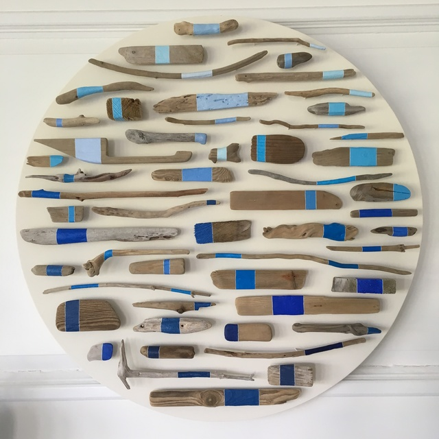 Jane Parkes  New Moon , 2016 driftwood, paint on wooden board 30 × 30 in.   SOLD