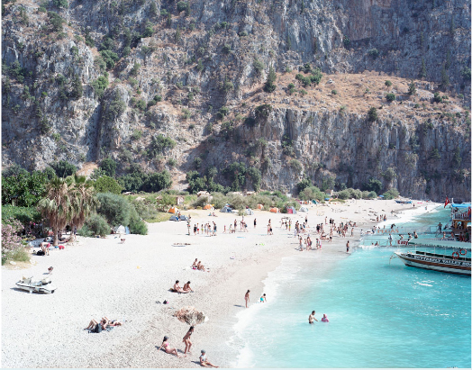 Massimo Vitali  Butterfly Valley , Turkey, 2010 chromogenic print with Diasec mount 60 x 72 in. edition of 6